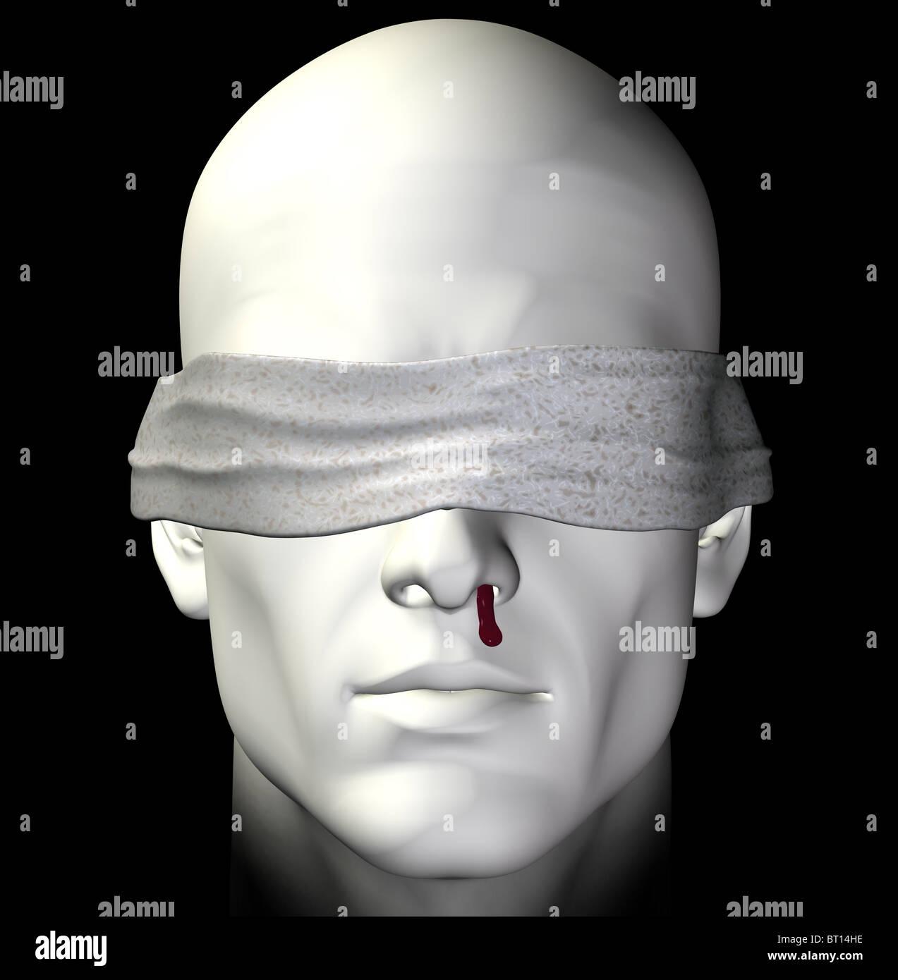 Blindfolded tortured man with bleeding nose. 3d illustration. - Stock Image