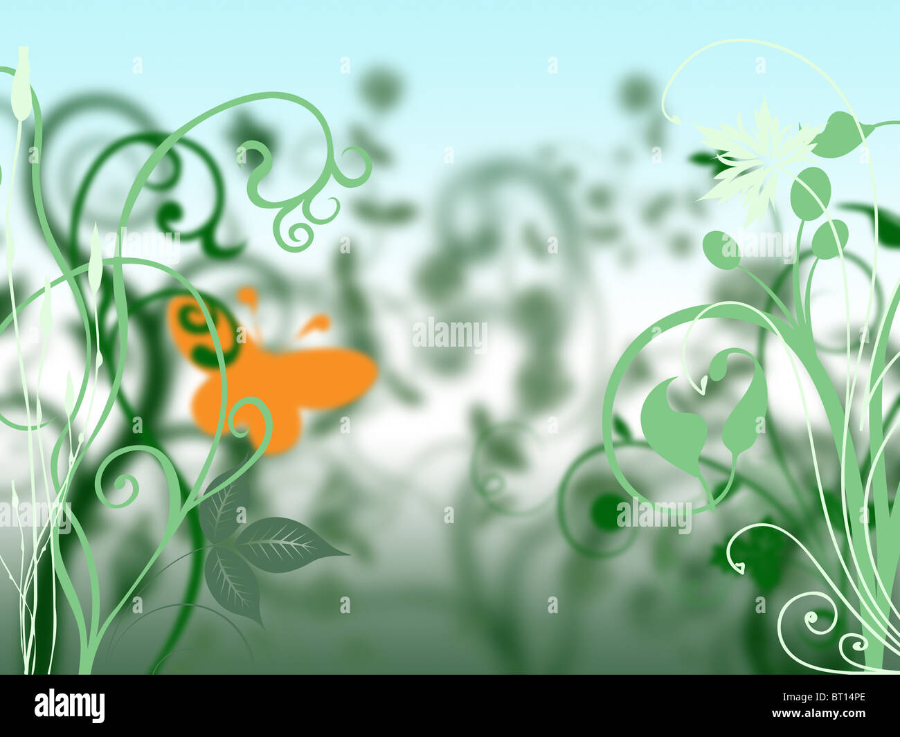 Illustration of plants, leaves, stems and a butterfly with a narrow depth of field and low point of view. - Stock Image