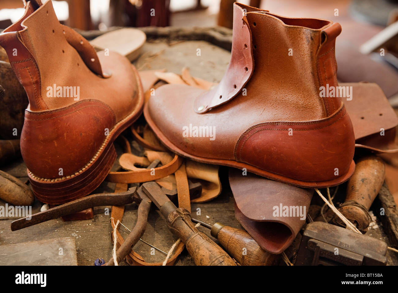 Leather Crafts Home Address Ethnographic Museum Valverde del Camino Huelva Andalusia Spain museo etnografico andalucia - Stock Image