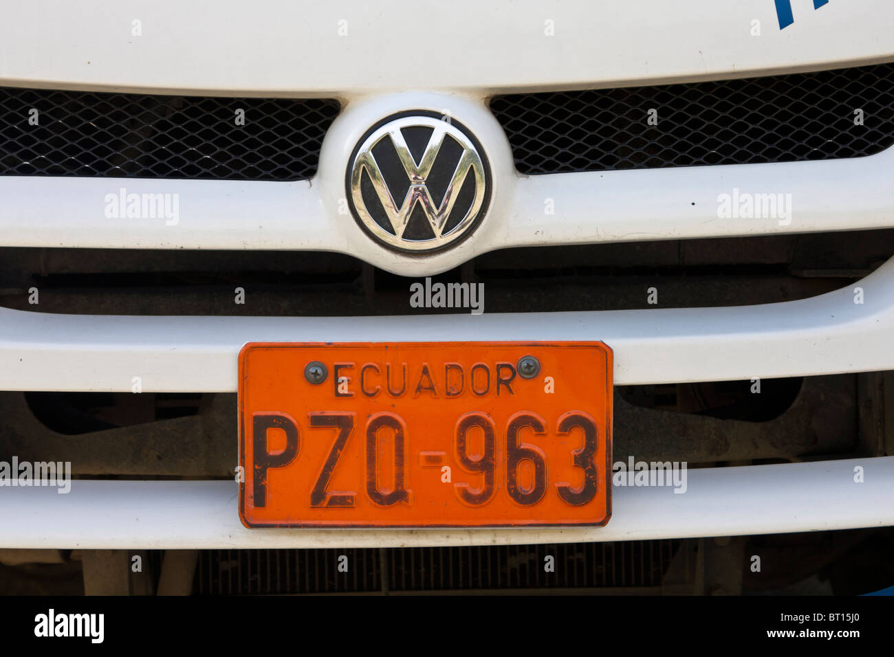 Ecuadorian number plate on VW bus - Stock Image