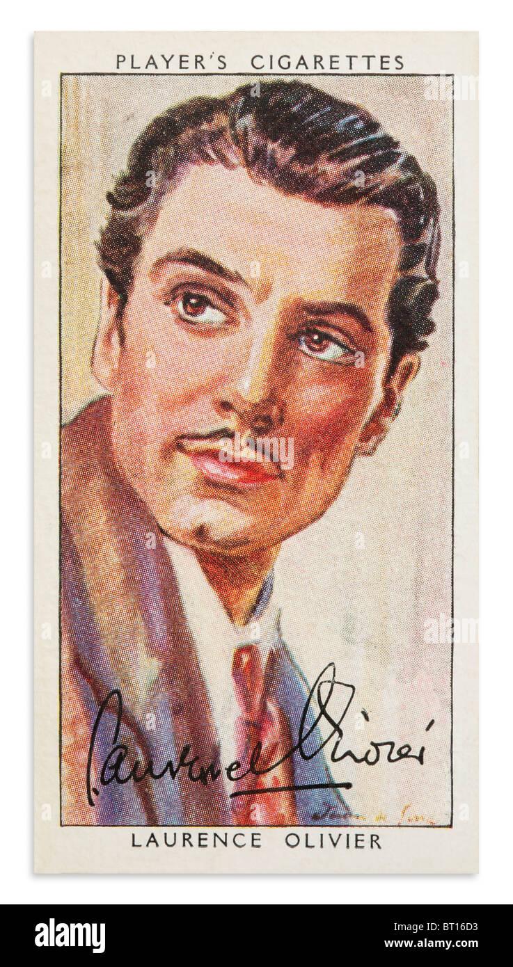Laurence Olivier Player's Cigarette Card Portrait - Stock Image
