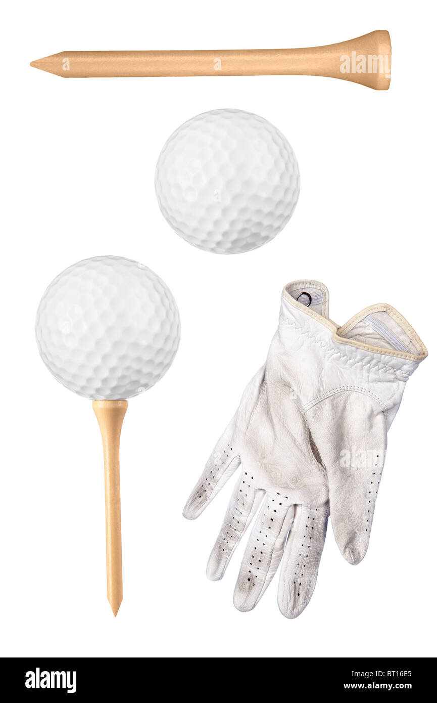 Golf items including ball, tee and glove isolated on white. - Stock Image