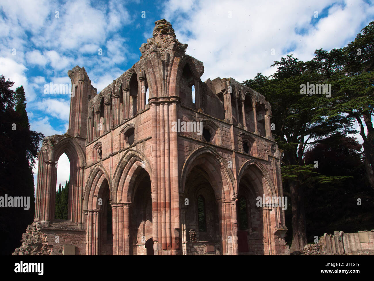 The ruined medieval architecture of Dryburgh Abbey in the Scottish borders, Dryburgh, Scotland. - Stock Image