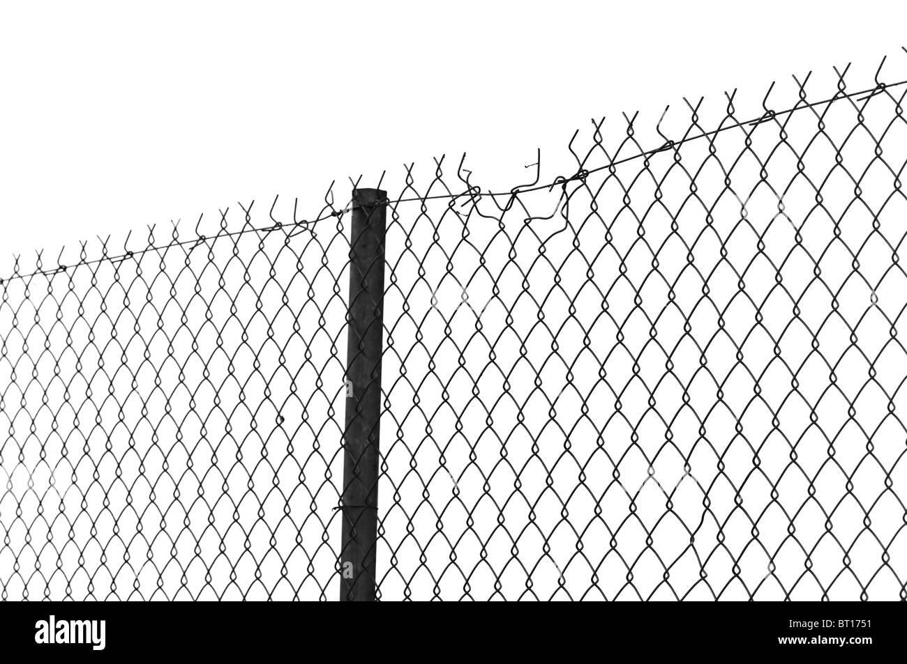 Barbed wire chain link fence. Black and white Stock Photo: 31989693 ...