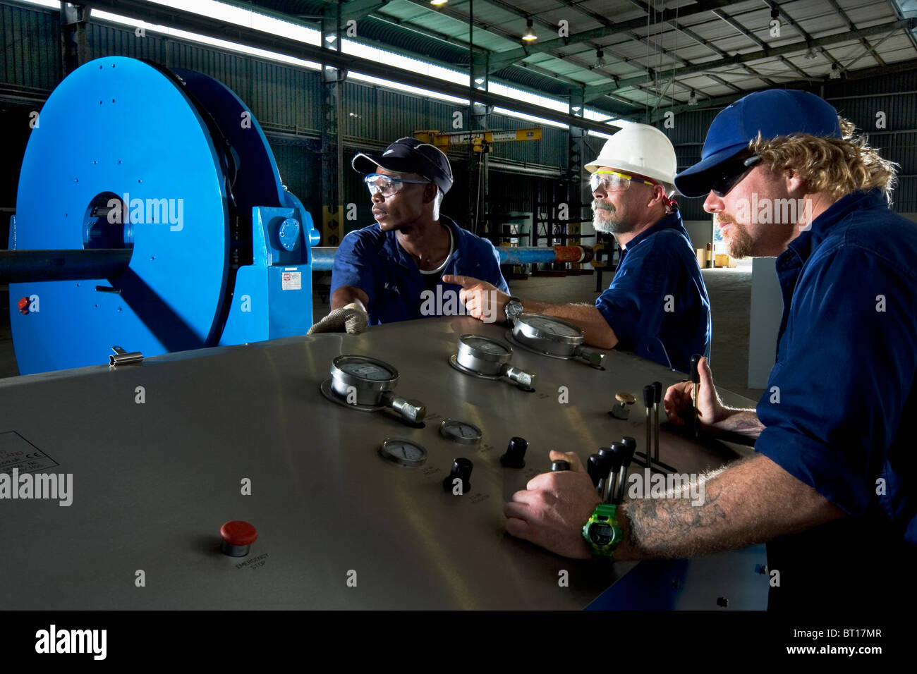 Luba Oil Freeport: Assembling well bore clean up tools for completing offshore oil production - Stock Image