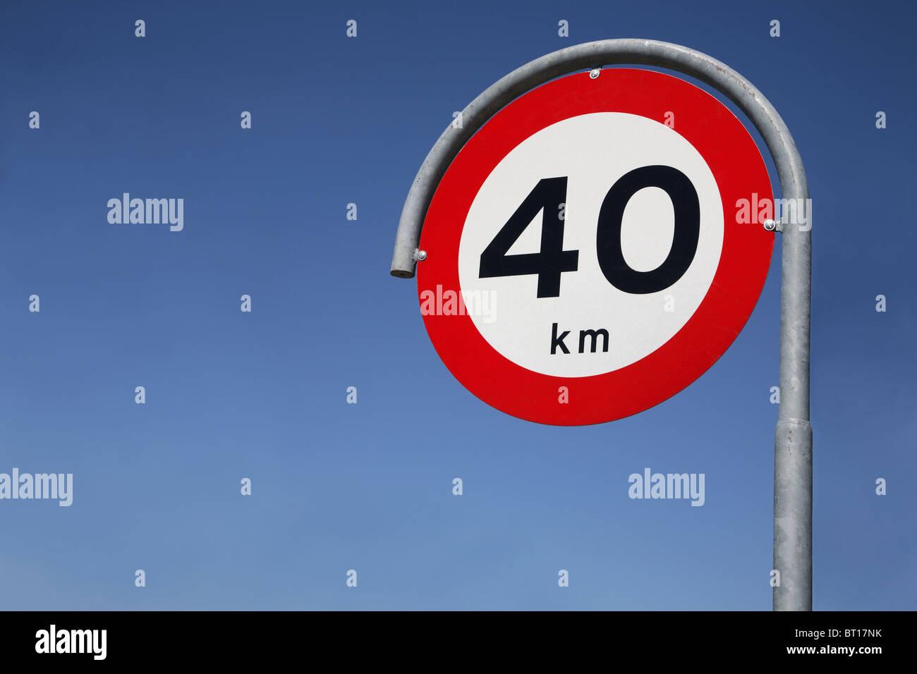Speed limit 40km traffic sign - Stock Image
