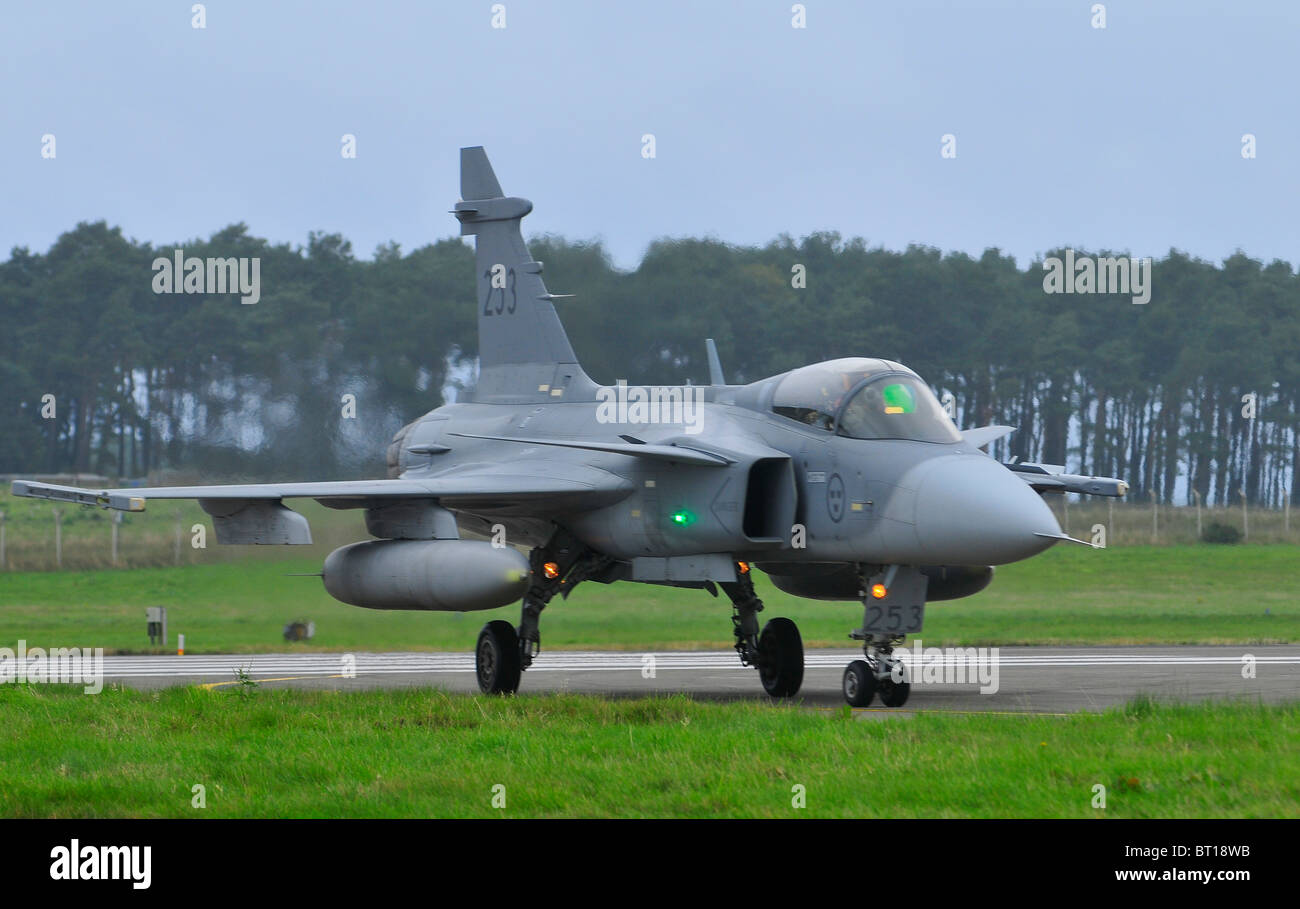 Saab JAS 39 Gripen single engined fast military Swedish jet fighter aircraft.  SCO 6848 Stock Photo