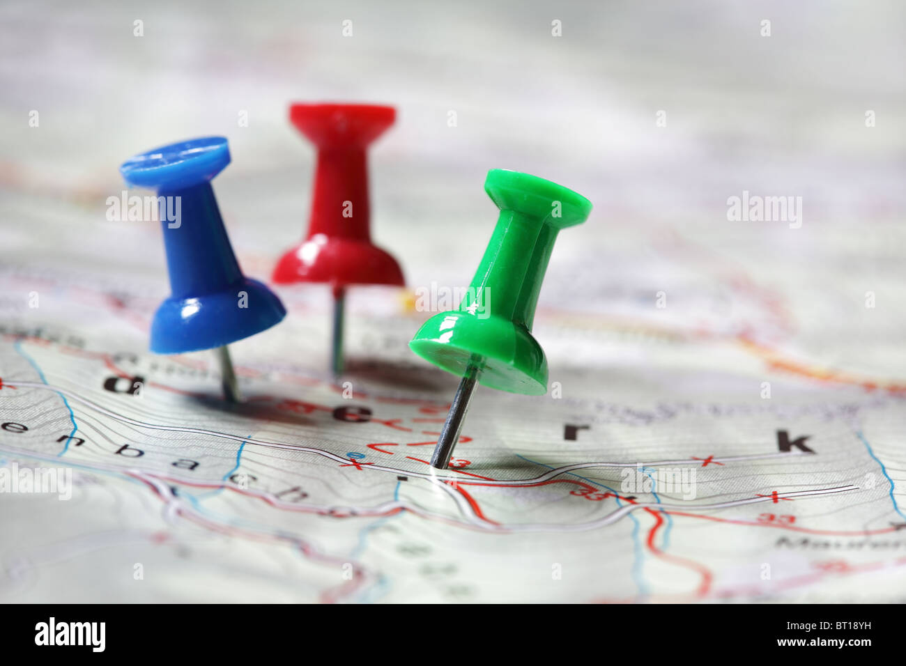 Travel destination marked with push pins - Stock Image
