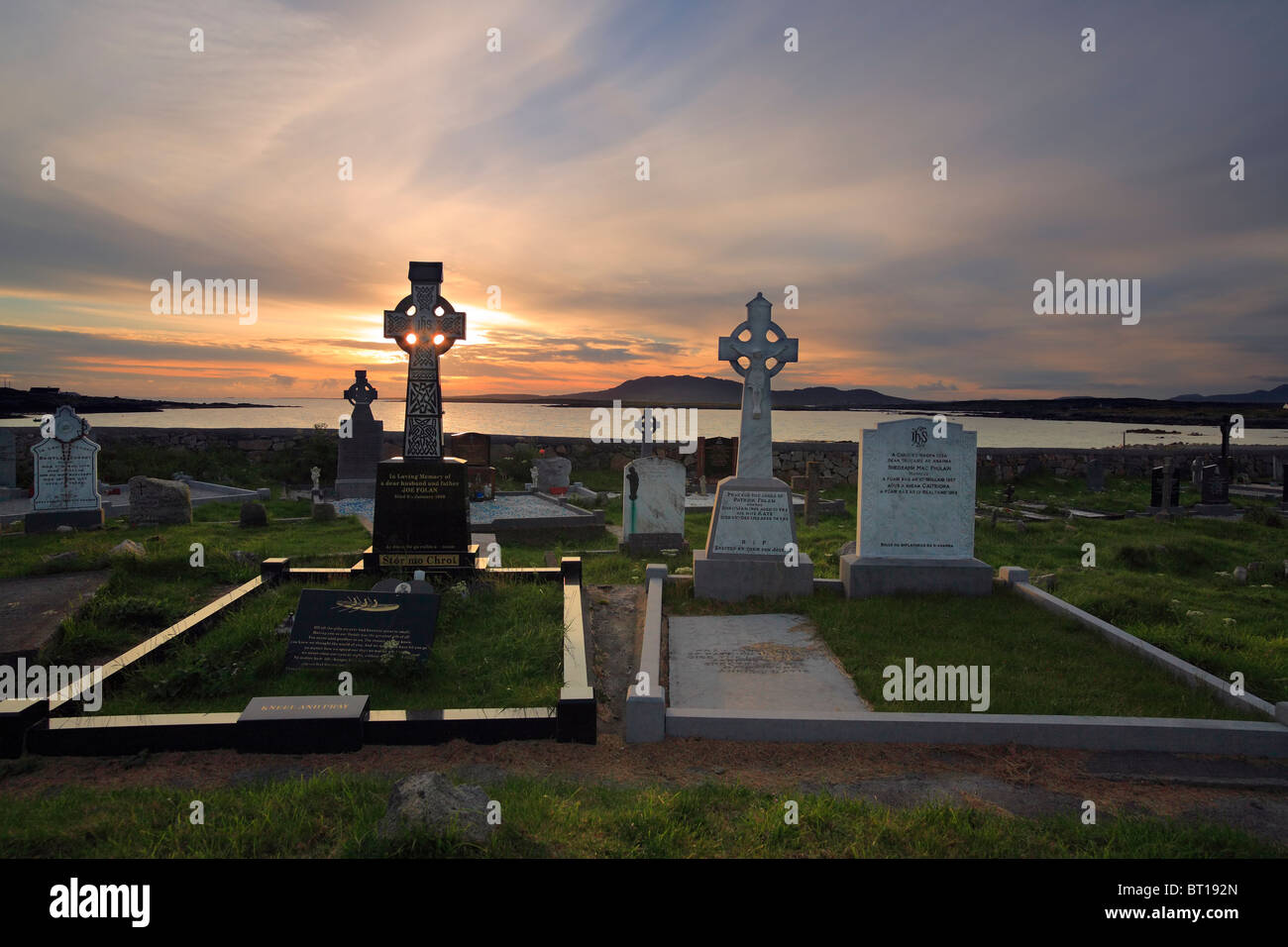 Celtic crosses at cemetery in Carna near Galway and Roundstone, Connemara, Ireland - Stock Image