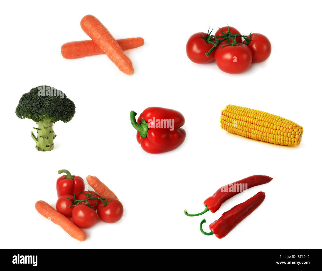 Isolated Fruits And Vegetables On A White Background Xxl