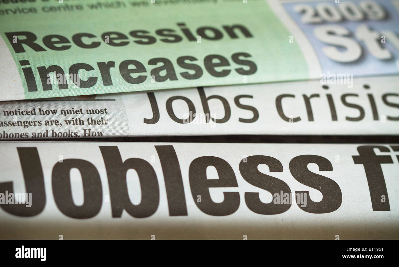 Newspaper headlines about jobs crisis - Stock Image