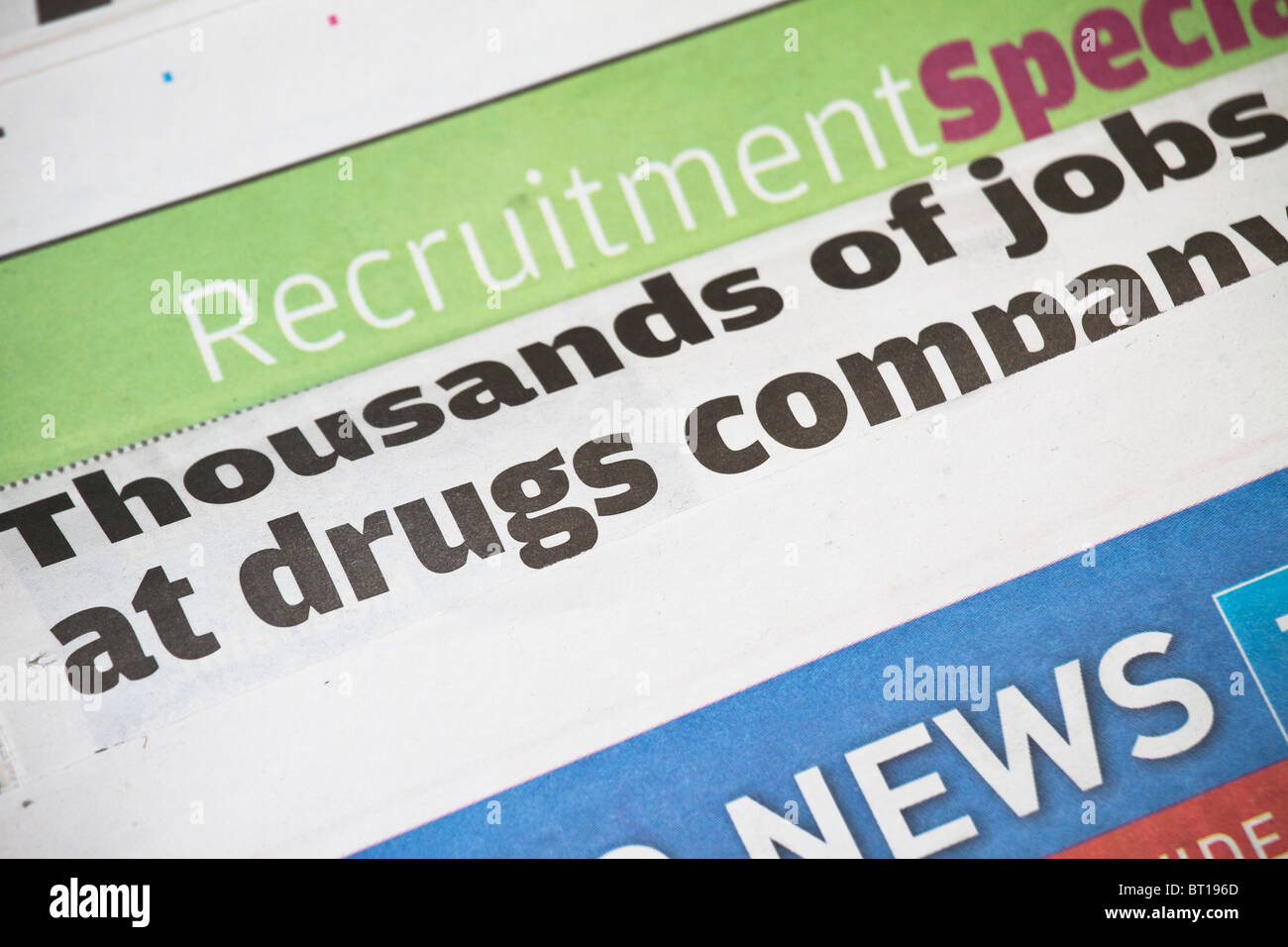 Newspaper headline about jobs crisis - Stock Image