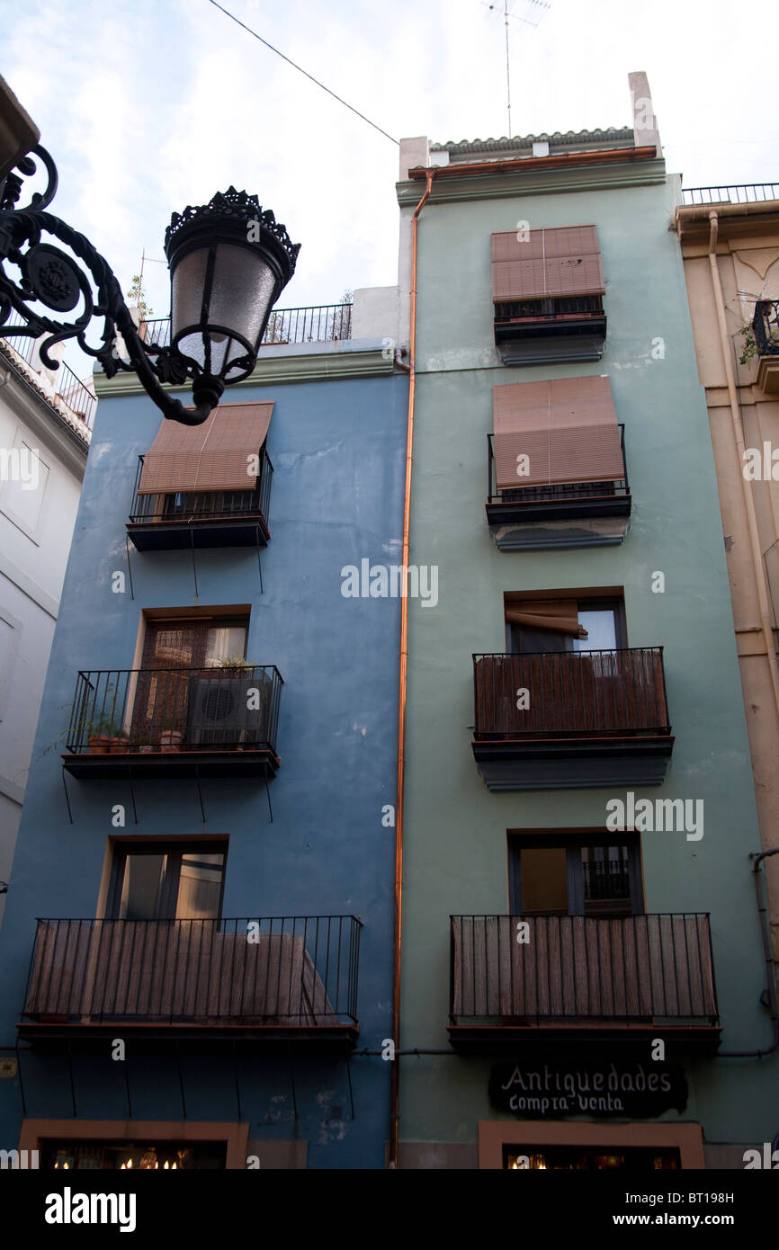 Decorative lantern and buildings in the Ciutat Vella or Old Town Valencia Spain - Stock Image