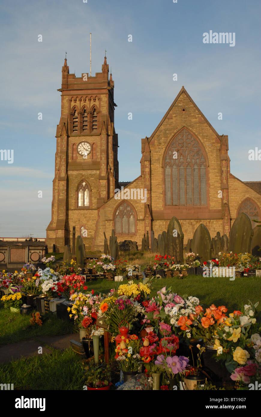 The parish Church of St Michael, Garston, Liverpool, Merseyside, England, UK. - Stock Image