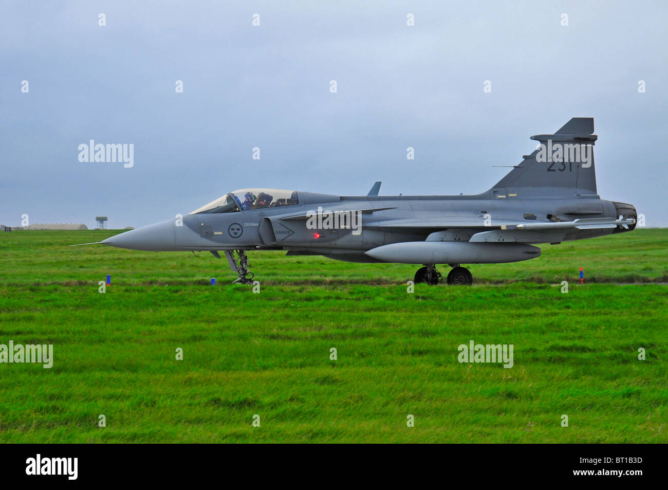 Saab JAS 39 Gripen single engined fast military Swedish jet fighter aircraft.  SCO 6853 Stock Photo