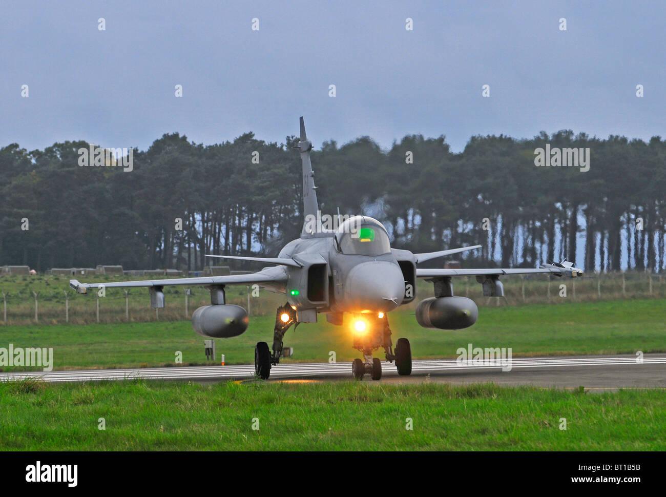 Saab JAS 39 Gripen single engined fast military Swedish jet fighter aircraft.  SCO 6855 Stock Photo