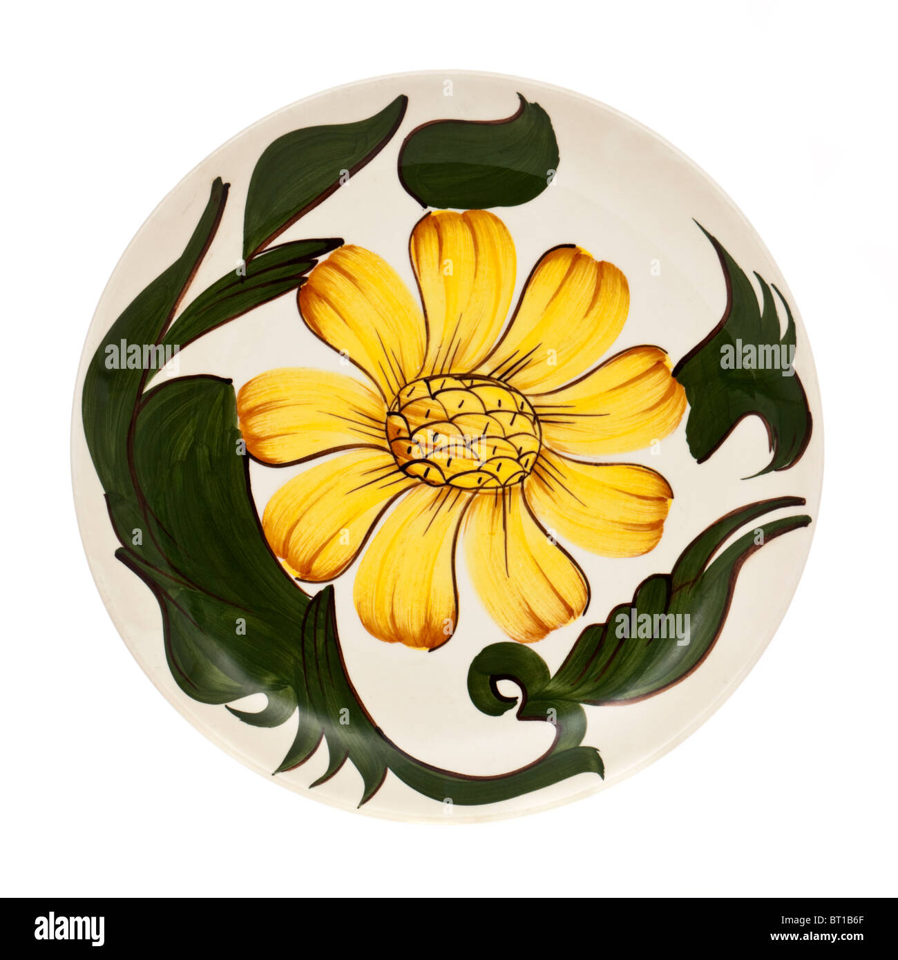 Vintage Wade ceramic hand painted sunflower plate - Stock Image