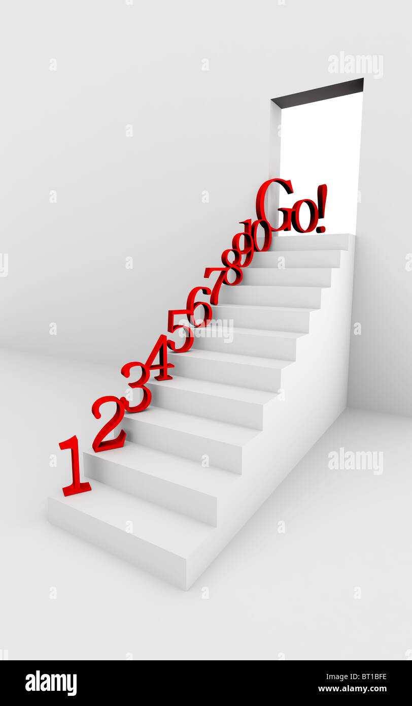Monochromic 3d rendered image of stair with red numbers. Stock Photo