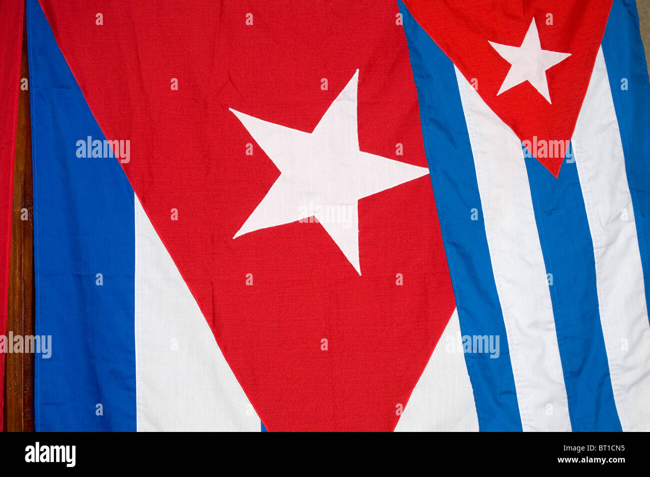 Two Cuba Flags Detail - Cuban Patriotic Background - Stock Image