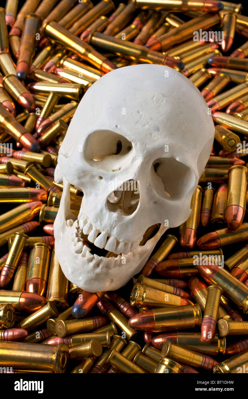 Human skull among bullets - Stock Image