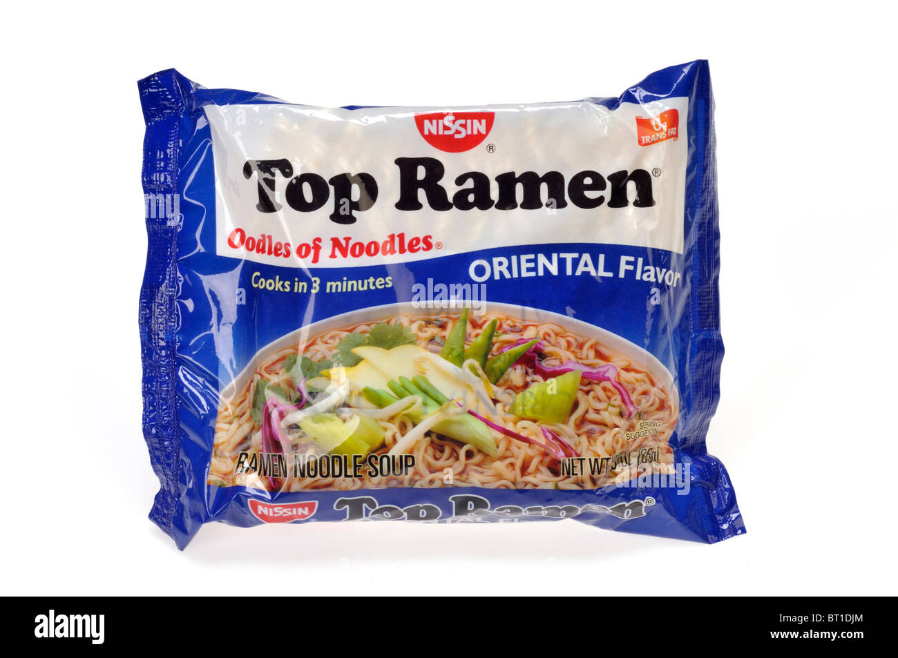 Package of Top Ramen Oodles of noodles chinese oriental flavor on white background - Stock Image