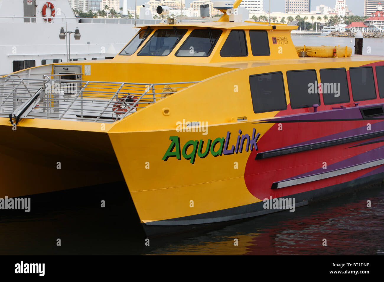 High-Speed Shuttle Between Long Beach Harbor and Alamitos Bay. It can carry 75 people. - Stock Image