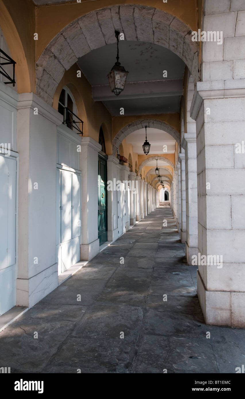 White stone archways in a city - Stock Image