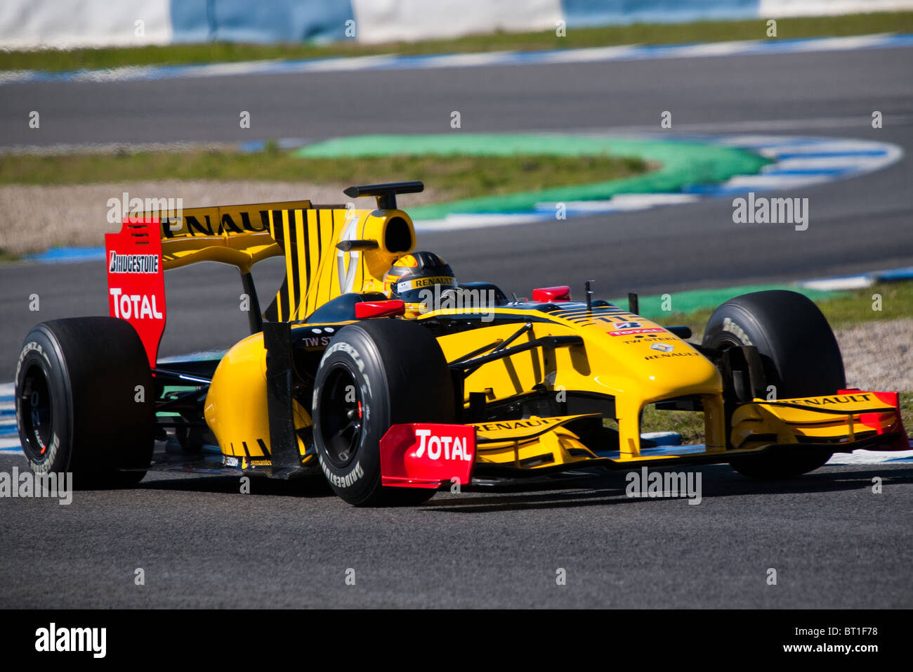 Robert Kubica at the 2010 Jerez practice in his RENAULT, Formula 1 car, leaving the chicane. - Stock Image