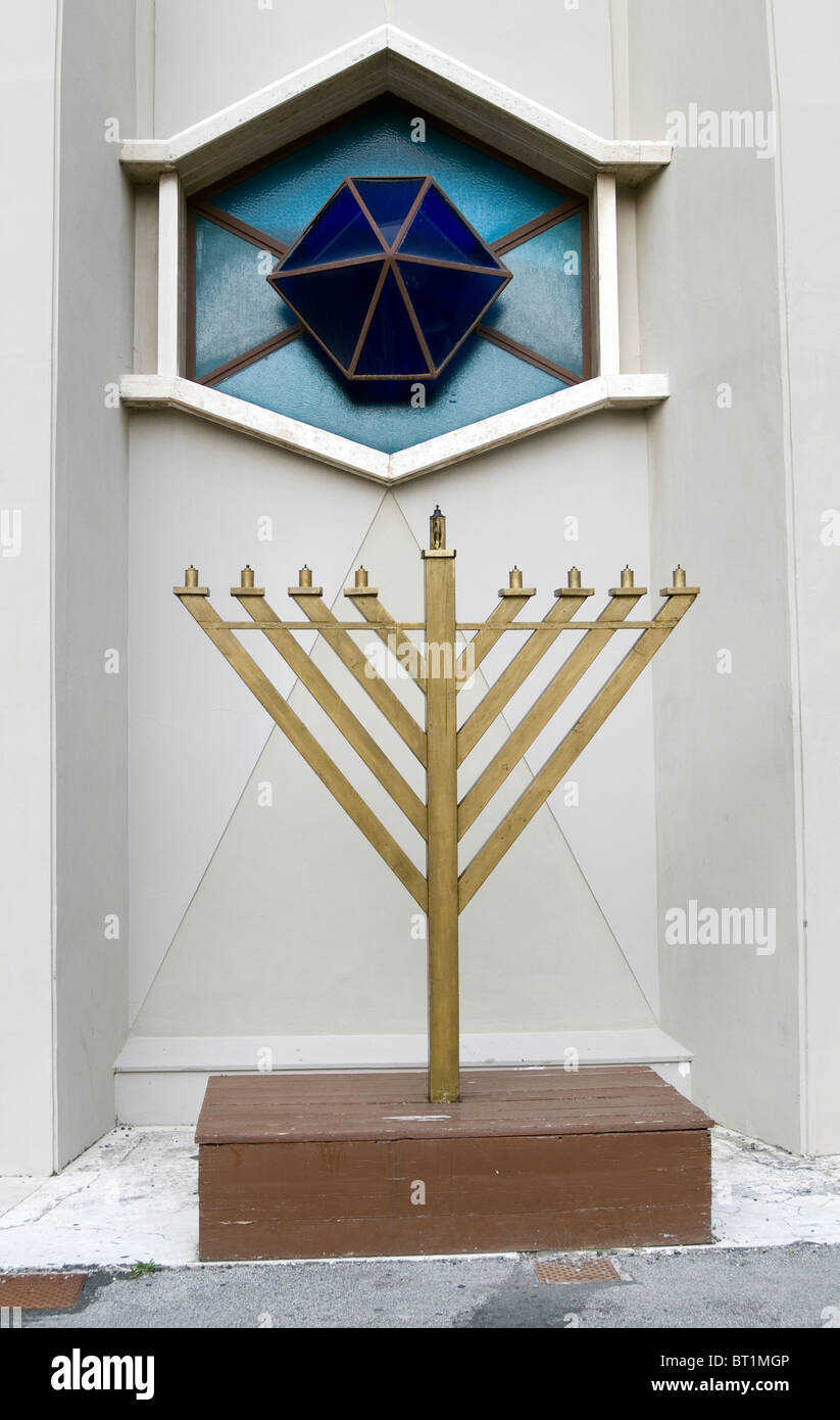 jewish menora Menorah Judaism jew jews symbol seven branches branched candle holder religion symbol symbols holders Stock Photo