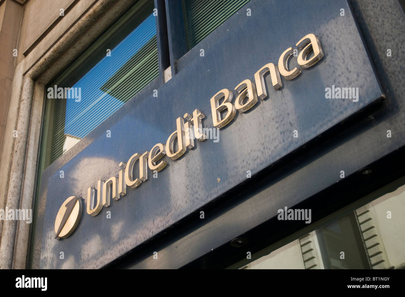 unicredit banca bank banks european bankers branch branches cooperate identity logo branding - Stock Image
