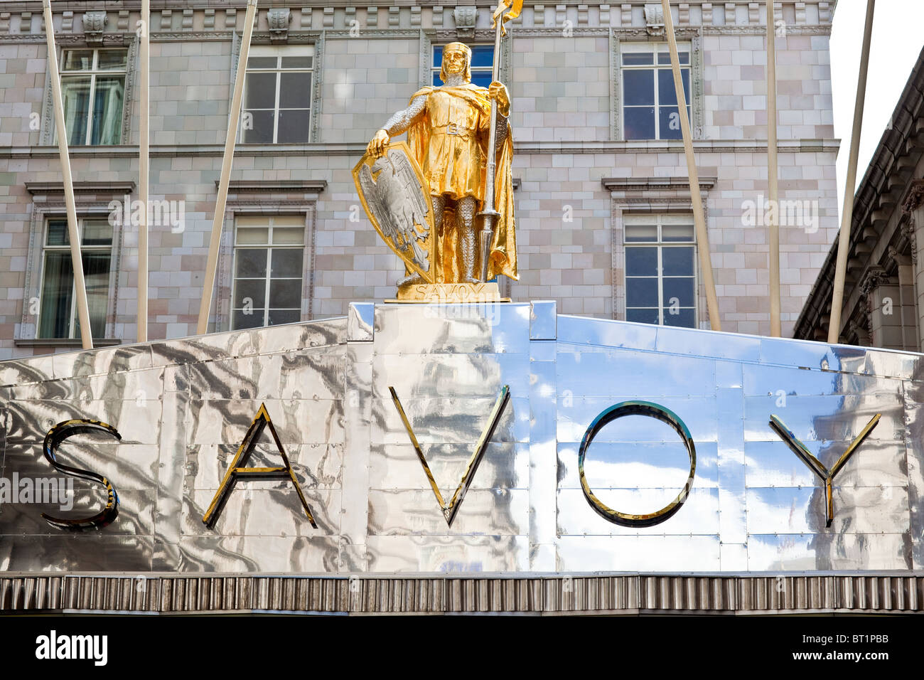 Savoy Hotel in London. Reopened in October 2010 after a complete refurbishment. Photos show the exterior main entrance - Stock Image