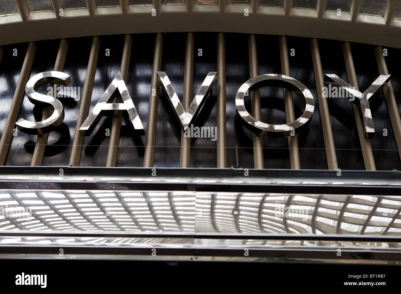 Savoy Hotel in London. Reopened in October 2010 after a complete refurbishment. Photos show the logo above the River - Stock Image