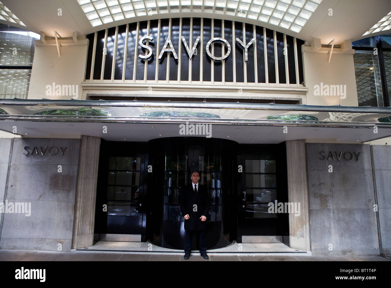Savoy Hotel in London. Reopened in October 2010 after a complete refurbishment. Photos show the River entrance - Stock Image