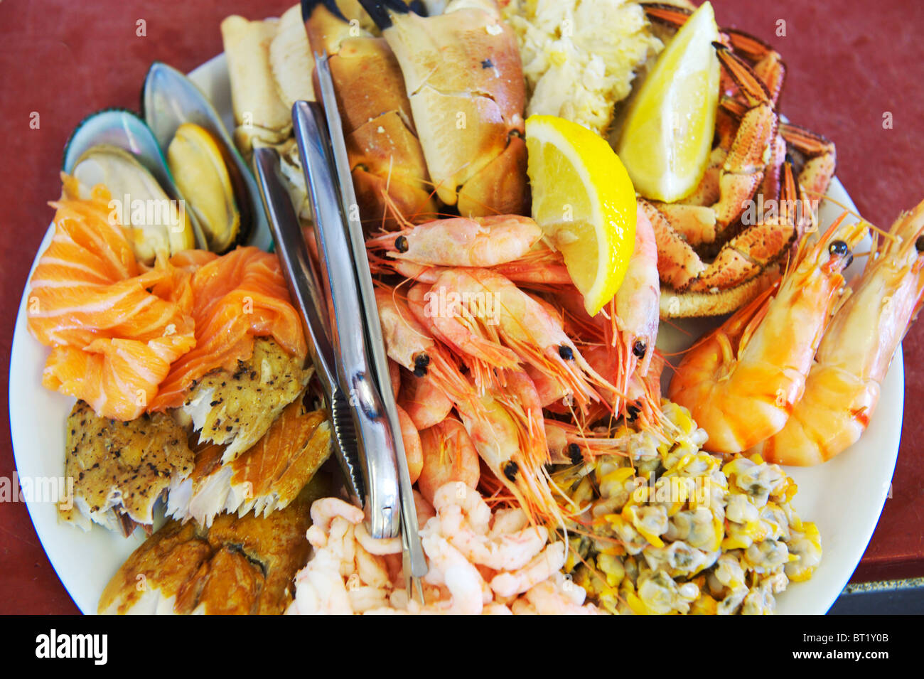 Fresh seafood platter ready to be served - Stock Image