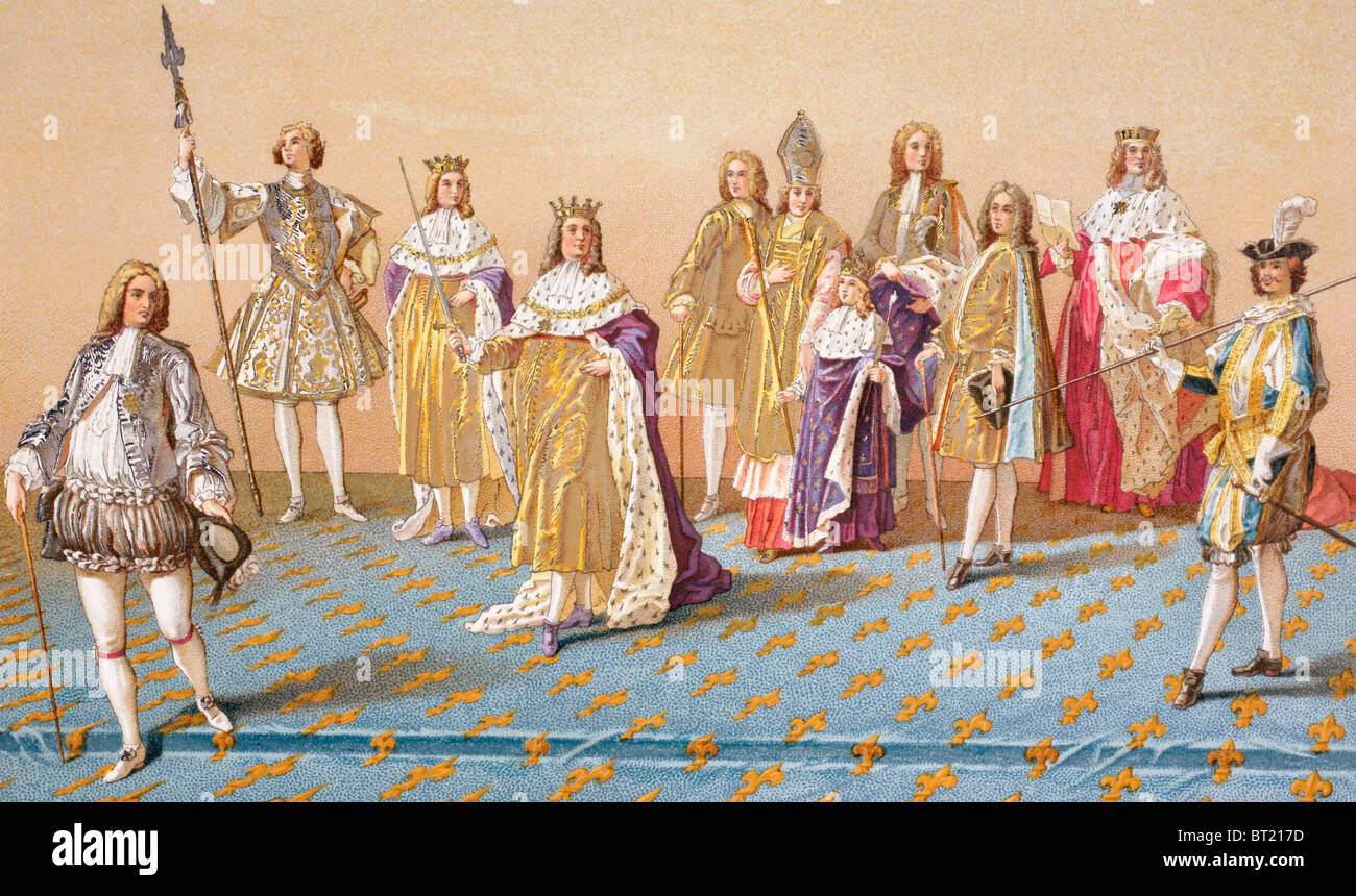 The 12 years old King Louis XV and the dignitaries who attended him at his coronation in Reims, France, 1722. Stock Photo
