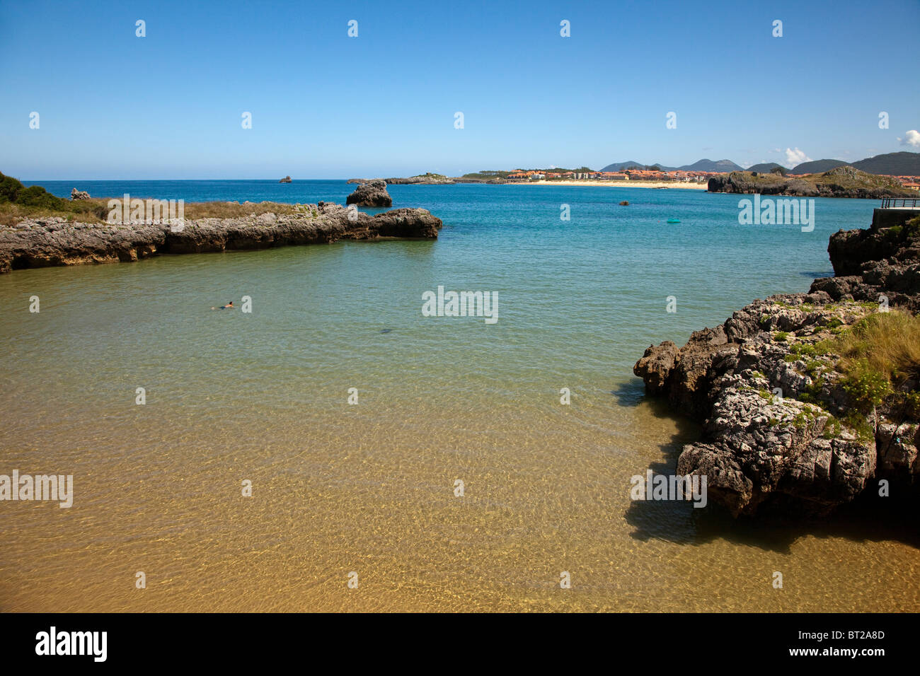 Playa de El Sable Isla Cantabria España Sable beach isla Cantabria Spain - Stock Image