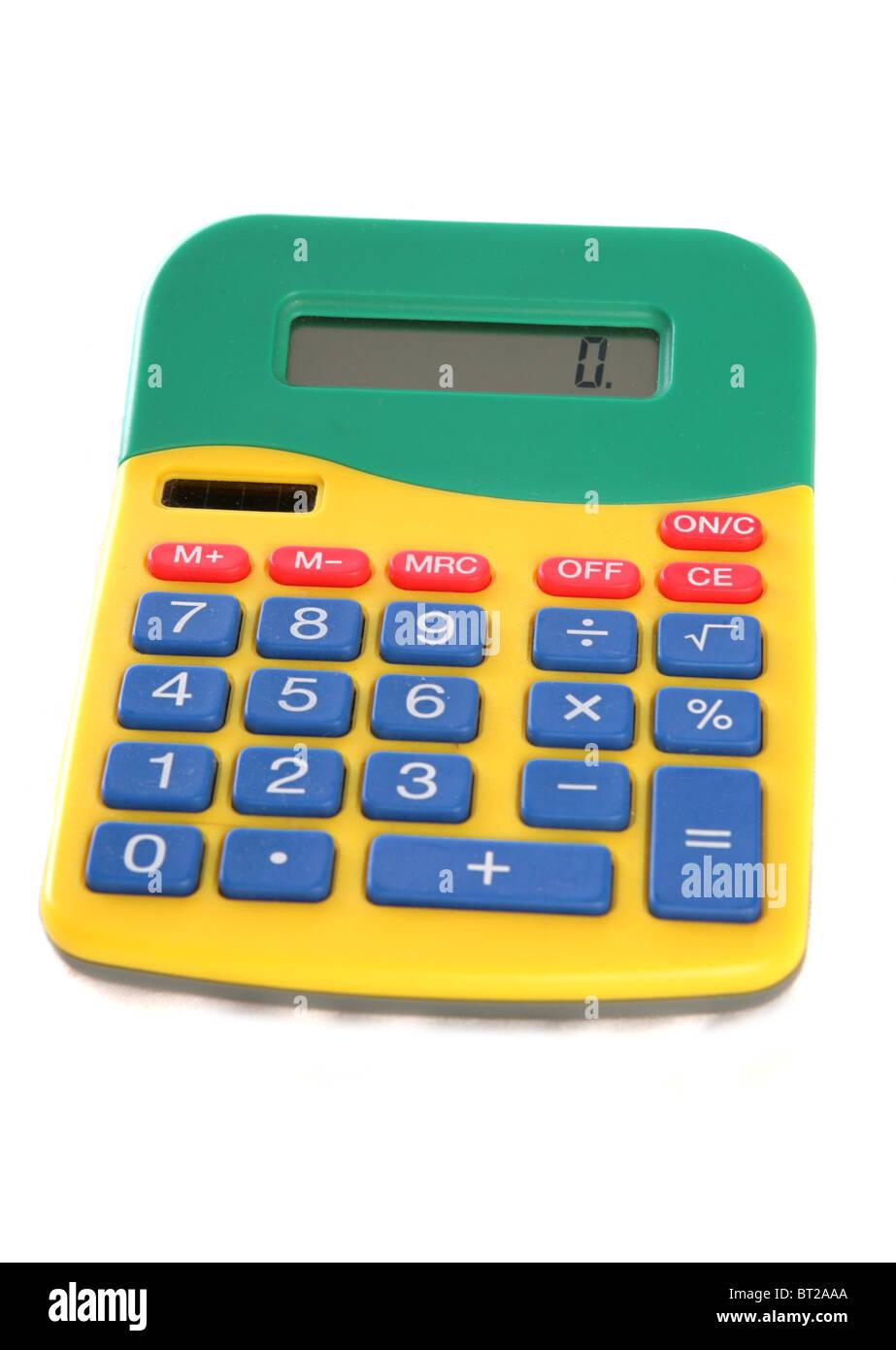 Multicoloured calculator studio cutout - Stock Image