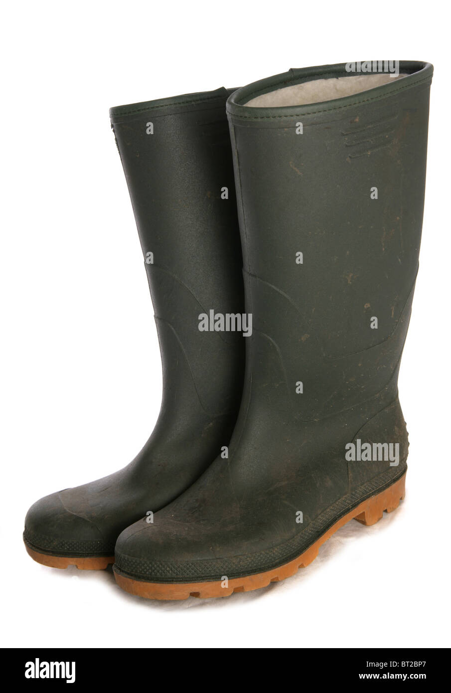 Used green welly studio cutout Stock Photo