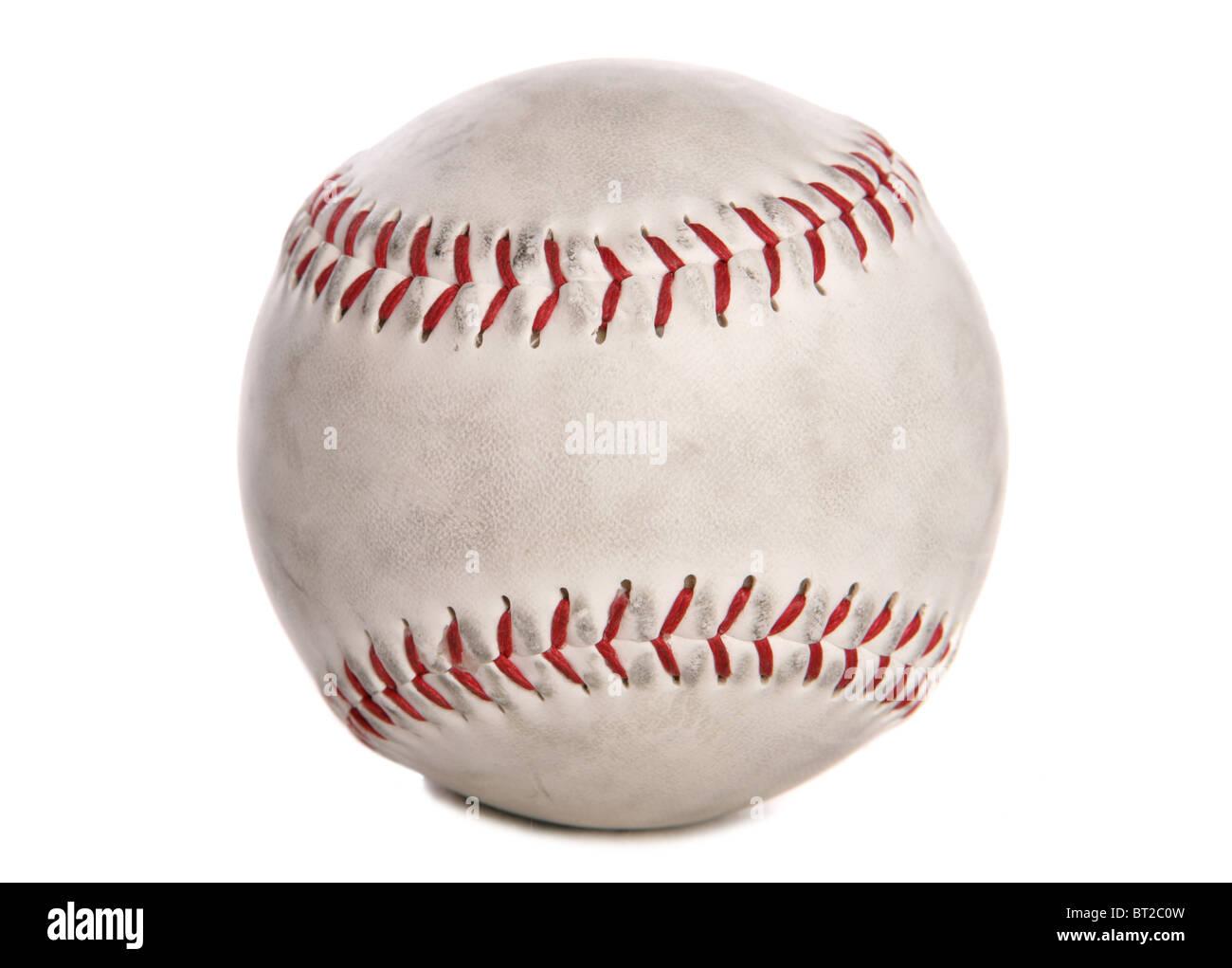 Used white baseball studio cutout - Stock Image