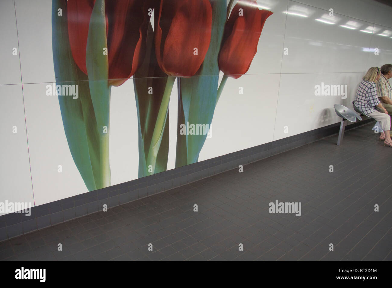 Poster of tulips  decorate the platform of  Brussels Metro - Stock Image