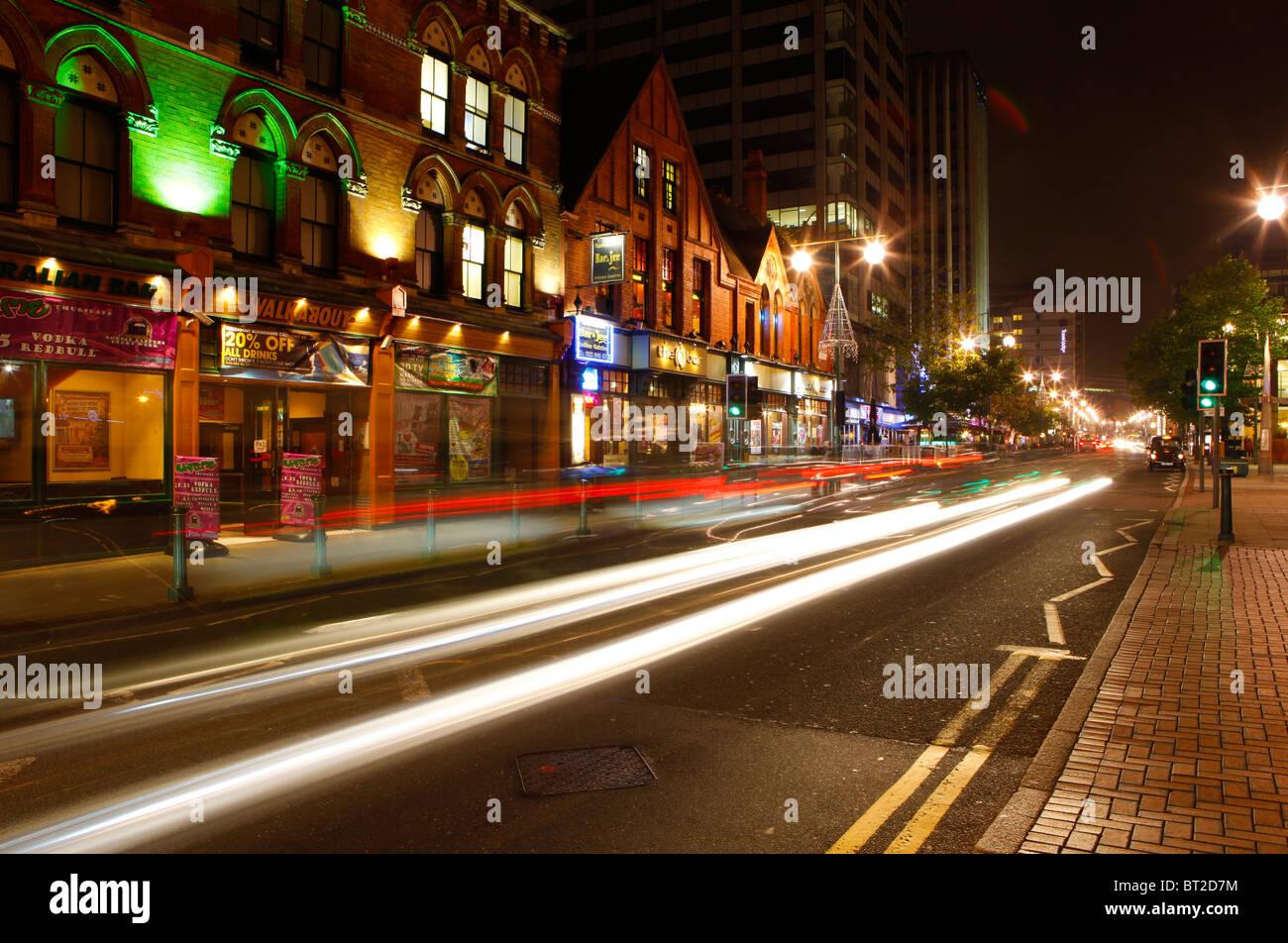 Broad Street at night, Birmingham, West Midlands, England, UK - Stock Image