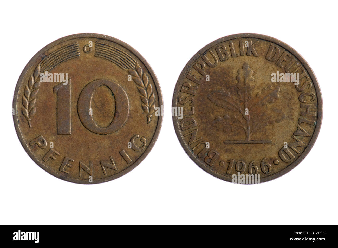 object on white - Deutschland pfenning coins close up - Stock Image
