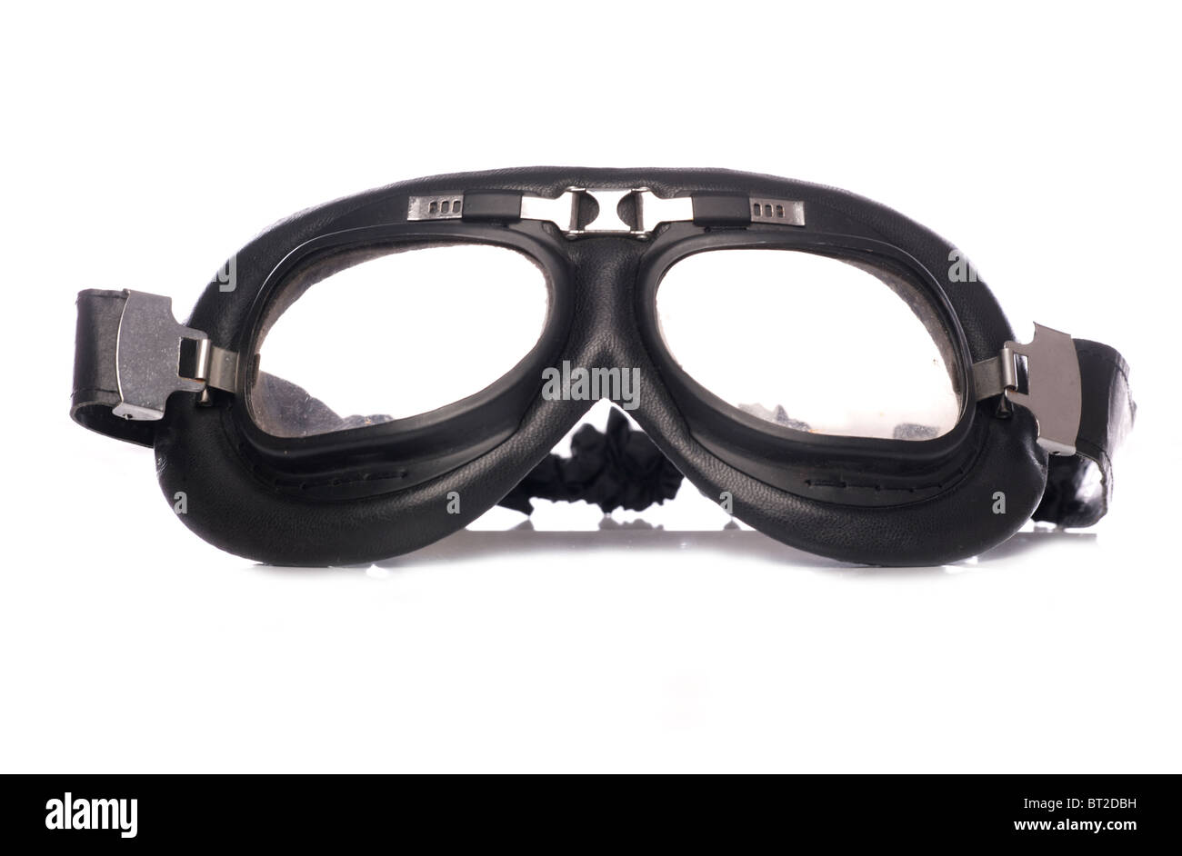 Retro motorcycle goggles studio cutout - Stock Image