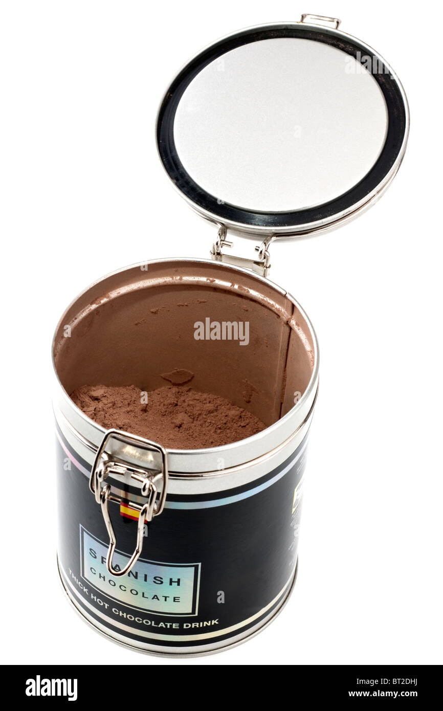Open flip top container of hot chocolate drink powder - Stock Image