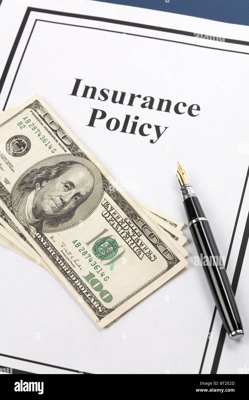 Insurance Policy, Life; Health, car, travel, for background - Stock Image