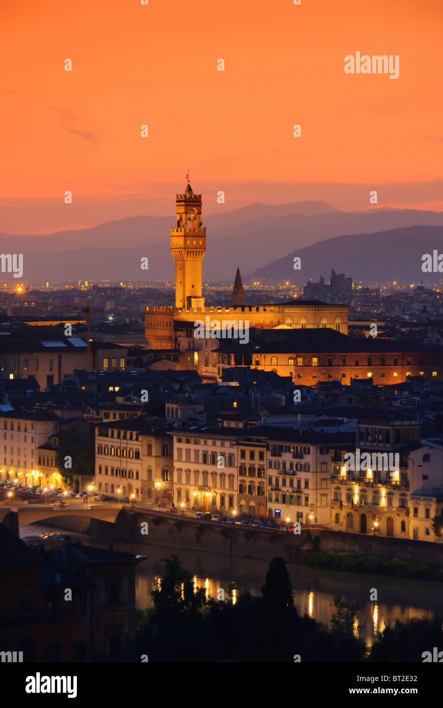 Florenz Palazzo Vecchio Abend - Florence Palazzo Vecchio evening 01 - Stock Image