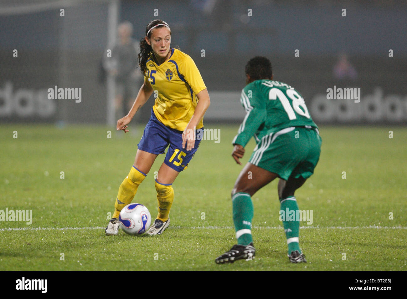 Therese Sjogran of Sweden (15) looks for space during a 2007 Women's World Cup soccer match against Nigeria. - Stock Image