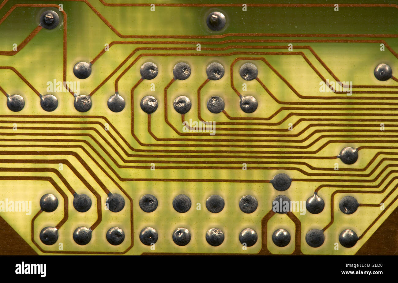 Close Up Green Circuit Board Background In Hi Tech Syle   Stock Image