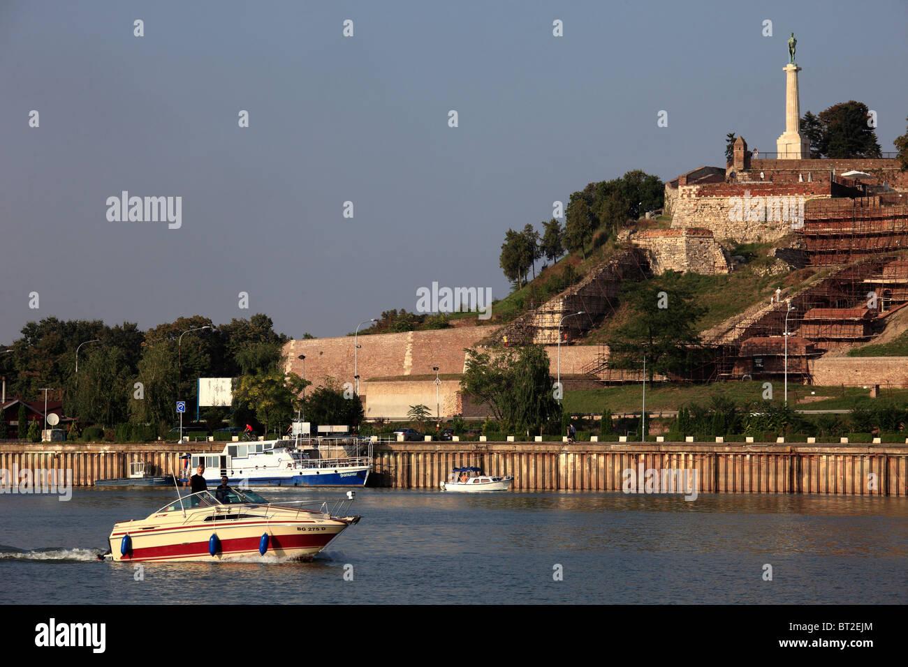Serbia, Belgrade, Kalemegdan Citadel, Sava River, boats, - Stock Image