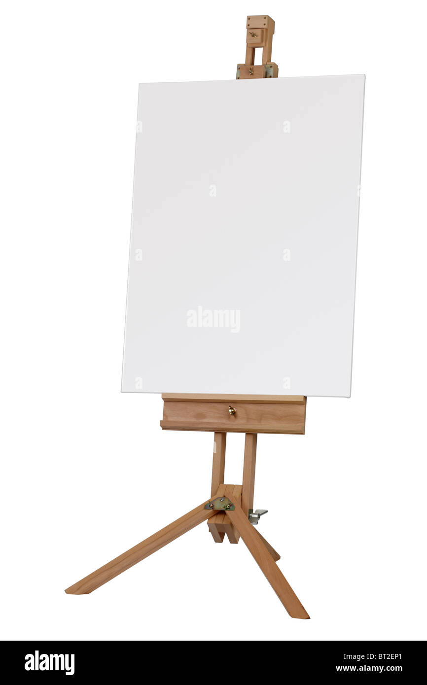 Wooden easel with blank canvas ready for message - Stock Image